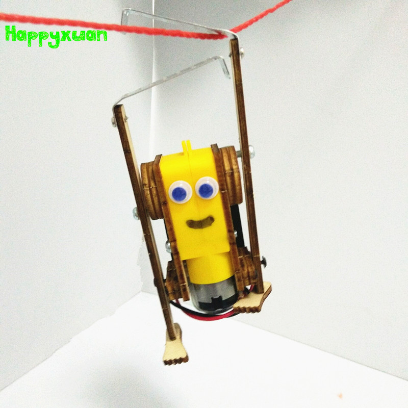 Happyxuan DIY Electric Robot Rope Climbing Kids Science Discovery Toys STEM Education Physics Experiment Kit School Project