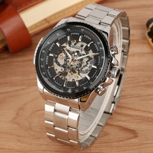 цена на WINNER Top Brand Luxury Men Auto Mechanical Watch Skeleton Design Stainless Steel Band Clock Classic Wristwatch erkek kol saati