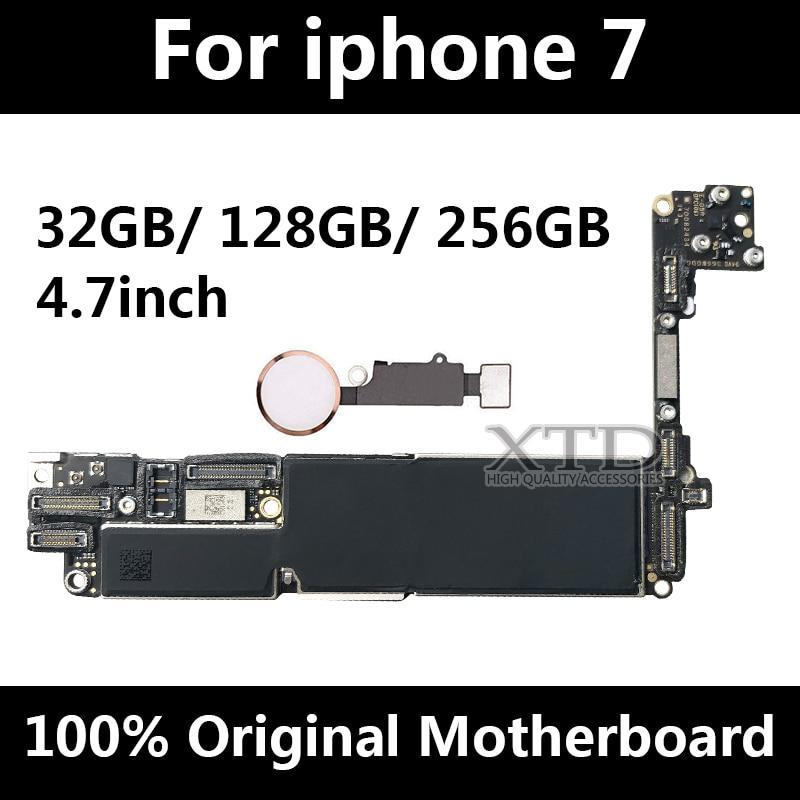 Pour iphone 7 carte mère d'origine déverrouiller téléphone carte mère avec Tactile ID carte mère pour iphone 7 Carte Logique 32 gb/128 gb/256g