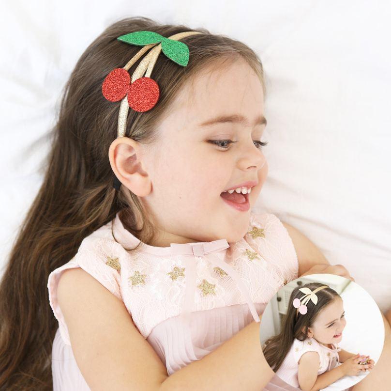 Newborn Infant Toddler Baby Girl Hair Bow Headband Elastic Hair Bands Cherry Girls Headwear