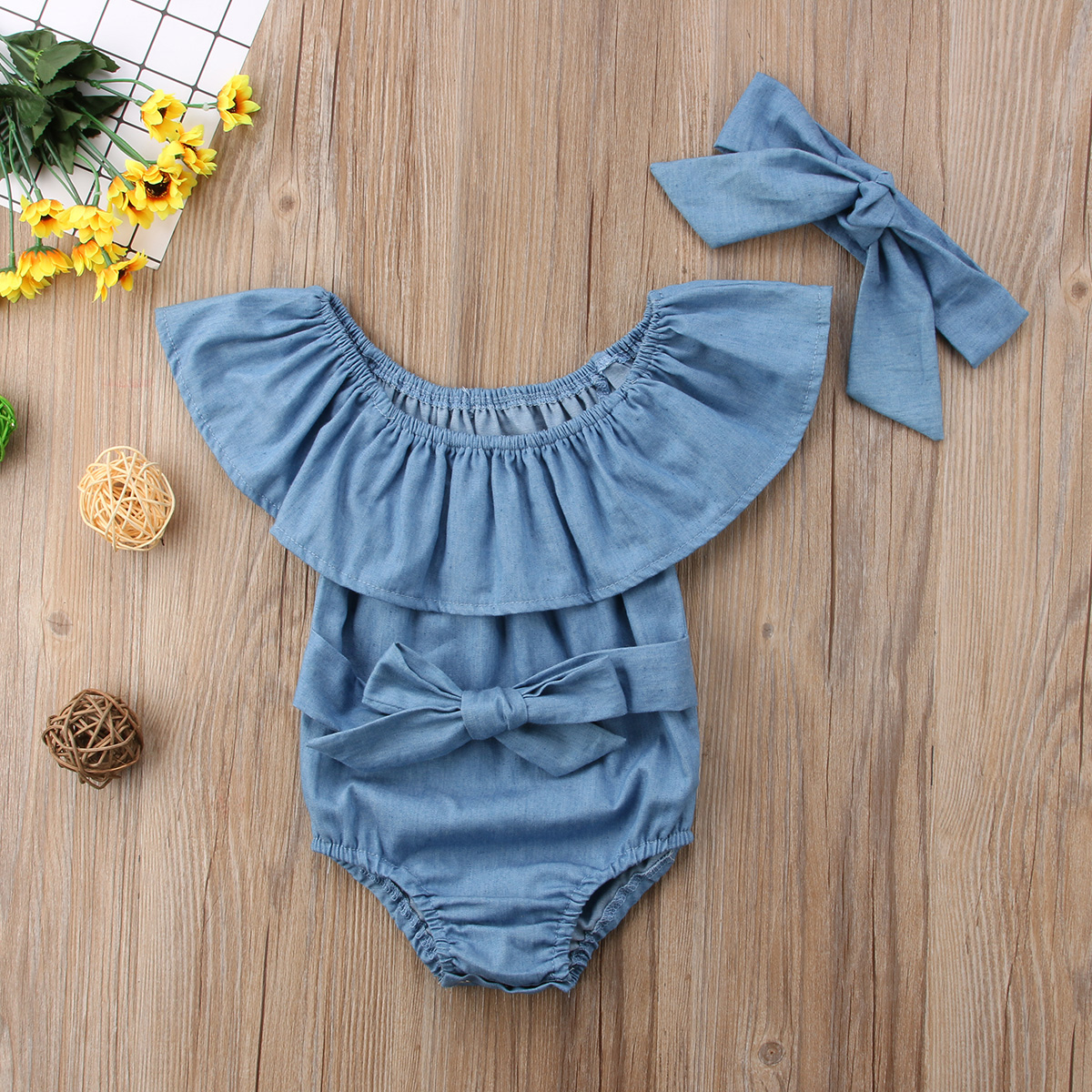 Hot Newborn Baby Girls Front Bowknot Bodysuit Romper Jumpsuit Outfits Clothes
