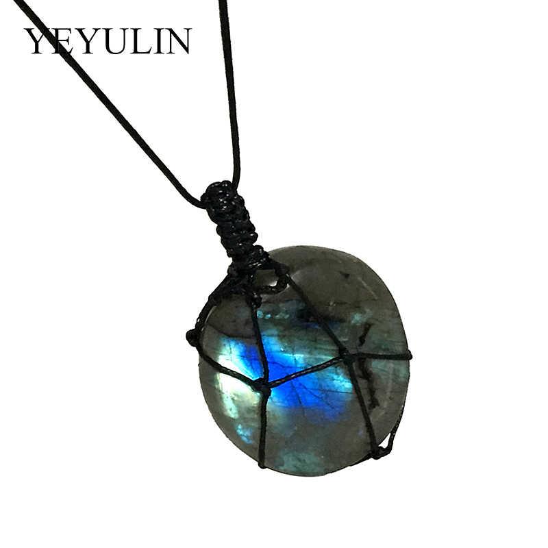 Cristal irregular natural labradorite coração moonstone pingente colar wrap trança energia colar jóias presentes para mulher