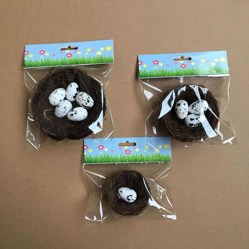 1Set Bird Nest with Eggs Easter Decoration Set Home Holiday Decorations