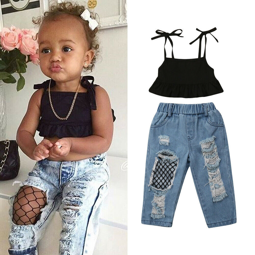 2019 New Fashion Toddler Kids Baby Girl Strap Vest Tops Fishnet Ripped Denim Pant Jeans 2PCS Outfits Children Girls Clothing Set