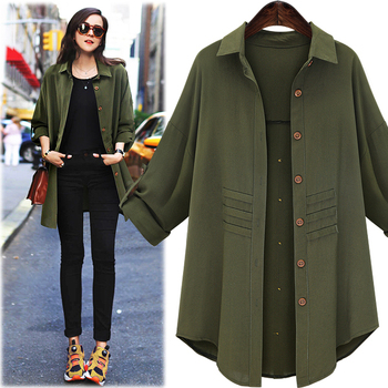 Europe and the United States foreign trade new autumn outfit loose medium long leisure shirt collar thin trench coat