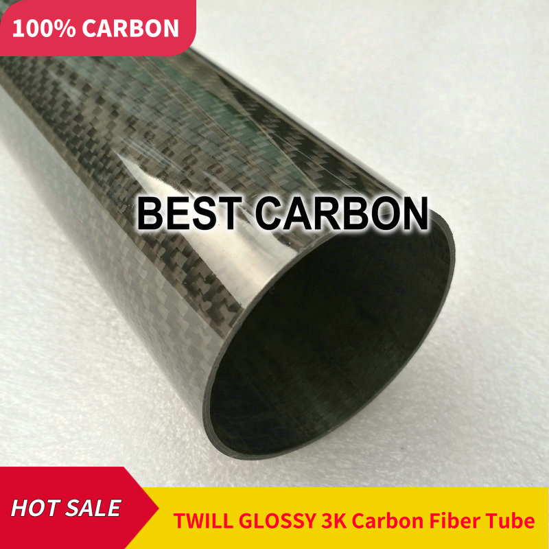 Free Shiping OD30mm To OD 60mm With 500mm Length High Quality Twill Glossy 3K Carbon Fiber Fabric Wound Tube