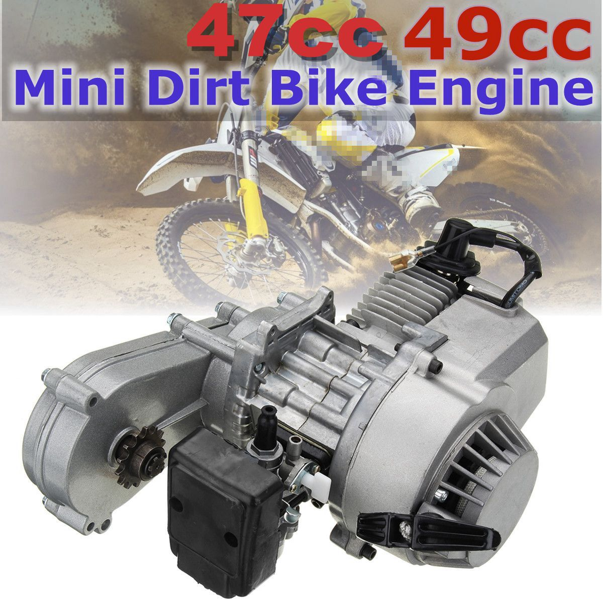 49cc 47cc Motorcycle Complete Engine 2-Stroke Pull Start W/Transmission Silver For Mini Dirt Bike image