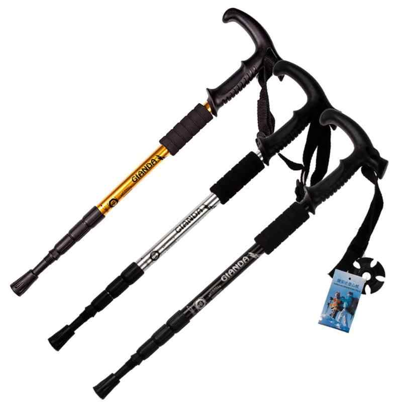 Tongkat Lipat Anti Shock Adjustable Telescopic Tongkat STICK Trekking Tiang Hiking Stick 4 Bagian untuk Outdoor Hiking Camp