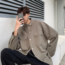 2019 Spring Mens All-match Pocket Decoration Long Sleeve men White Shirt Male Cotton Green/khaki/Violet Color Clothes Hot Sale