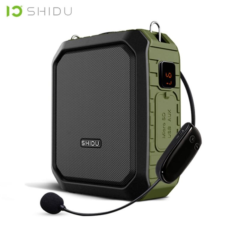 SHIDU 18 W Portátil Sem Fio Bluetooth Speaker Amplificador de Voz Com Microfone UHF À Prova D' Água Para O Professor de Apoio AUX TF Disco USB