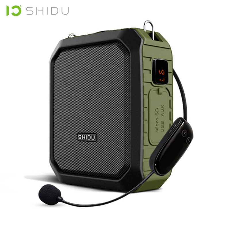 SHIDU 18W Portable Wireless Bluetooth Speaker Waterproof Voice Amplifier With UHF Microphone For Teacher Support AUX TF USB Disk messenger bag