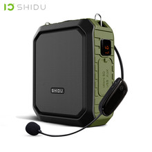 SHIDU 18W Portable Wireless Bluetooth Speaker Waterproof Voice Amplifier With UHF Microphone For Teacher Support AUX TF USB Disk shidu ultra wireless portable uhf mini audio speaker usb lautsprecher voice amplifier for teachers tourrist yoga instructor s615