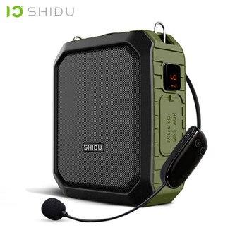 SHIDU 18W Tragbare Wireless Bluetooth Lautsprecher Wasserdicht Stimme Verstärker Mit UHF Mikrofon Für Lehrer Unterstützung AUX TF USB Disk