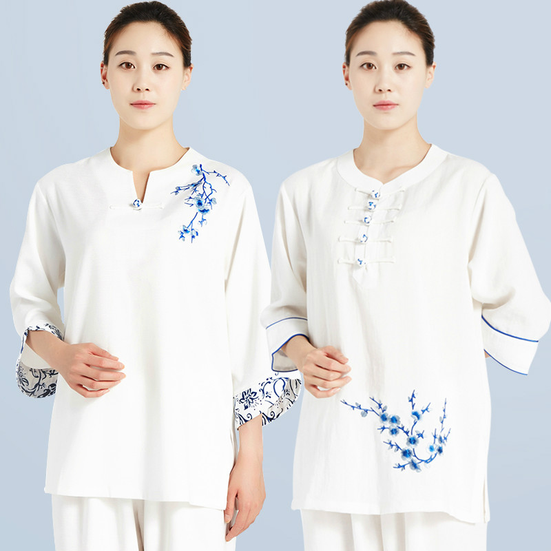 Women Embroidery Short Sleeve Chinese Traditional Tai Chi Uniforms Kung Fu Clothing Martial Art  Wear Shirt And Pant