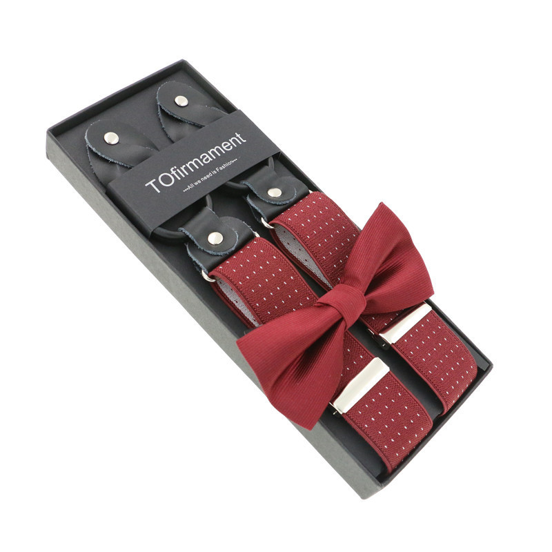 3.5cm Width Novelty Jacquard Printed Suspenders Bowtie Set Men 6 Buttons Braces Vintage For Trousers Husband Male Suspensorio