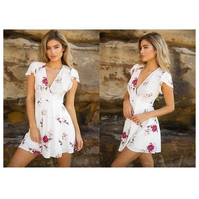 Cross V-neck Short-Sleeved Large Print Dress 2