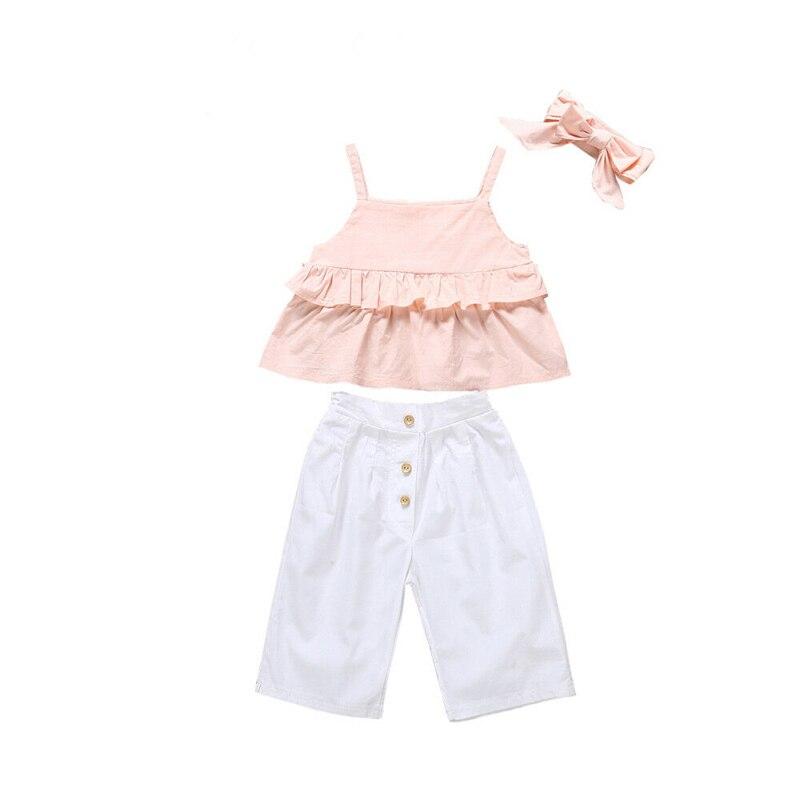 Hot 3 Pcs Peuter Kids Baby Meisje Roze Ruches Camis Tops + Wijde Pijpen Broek + Strik Hoofdband Bebe Meisje Mode Kleding Sunsuit 1-6y