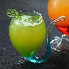 Креативная стеклянная кружка с соломинкой Для холодного напитка для домашнего использования и вечерние бокалы для вина