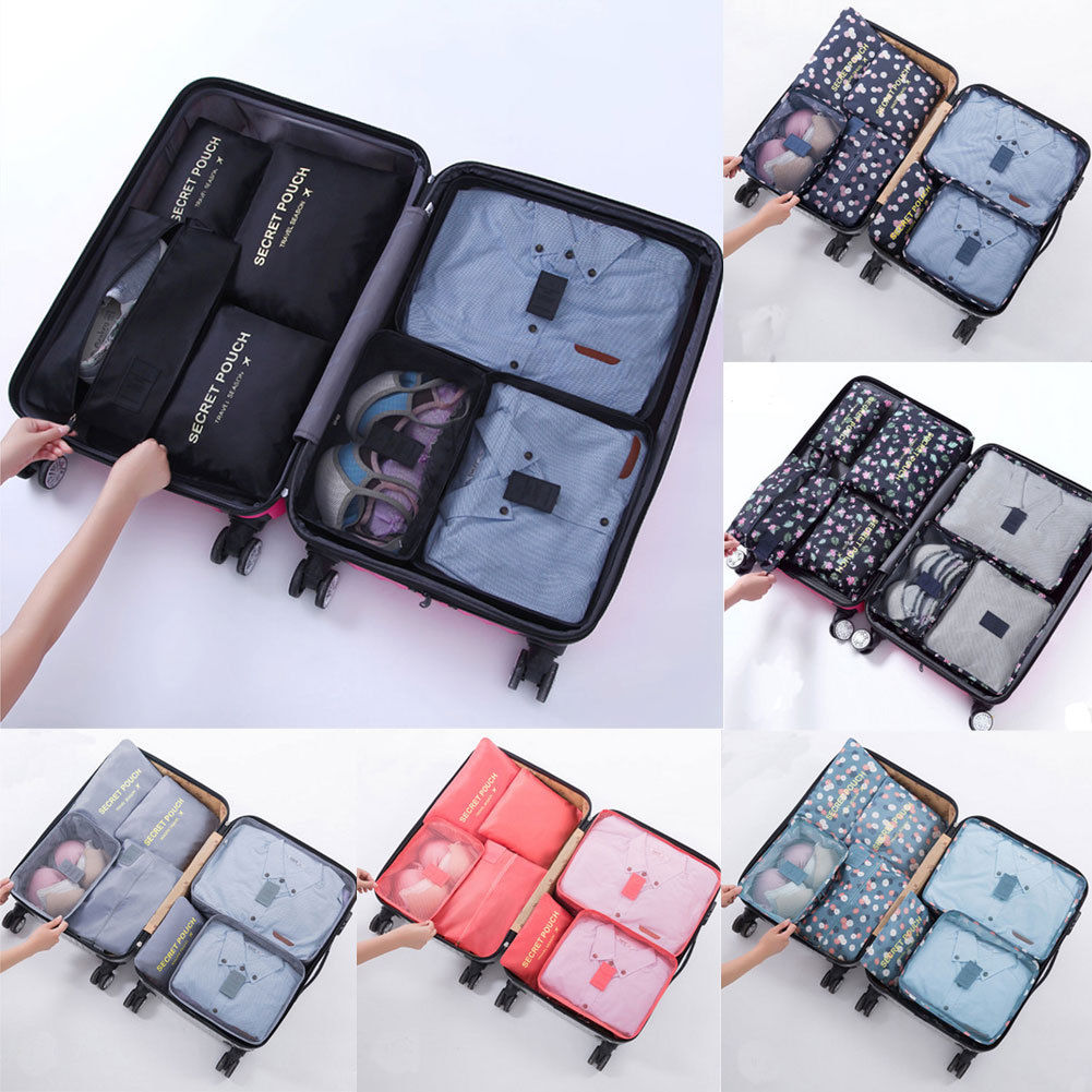7PCS Different Sizes Cube Travel Luggage Bags Travel Totes For Packing Clothes Socks Shoes Makeup Organizer Travel Bags