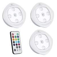 3 pcs RGB Remote Control led Night Light Touch Switch Cupboard Lamp Infrared Luminaria For Drawer And Wardrobe with AA battery