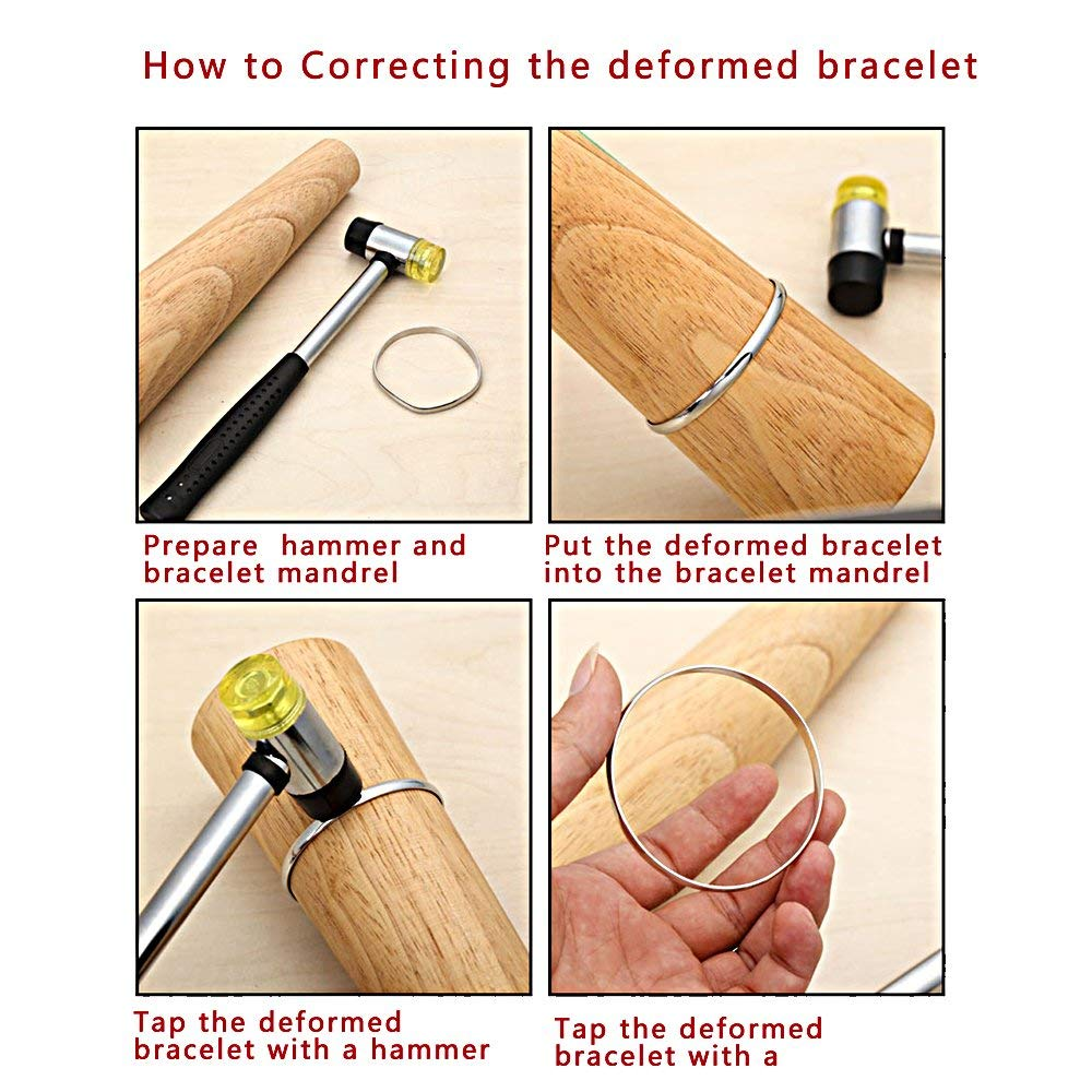 Jewelry Tool Round Wooden Bracelet Sizing Bangle Mandrel Wire Wrapping Tool