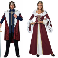 Halloween Party Emperor King Queen Costume Medieval Royal Court Fantasia Fancy Dress