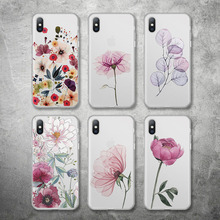 USLION Matte Flower Case For iPhone 8 7 Plus Clear Phone Case For iPhone X XS XR Xs Max 6 6S Plus Soft TPU Silicone Cover Coque цена и фото