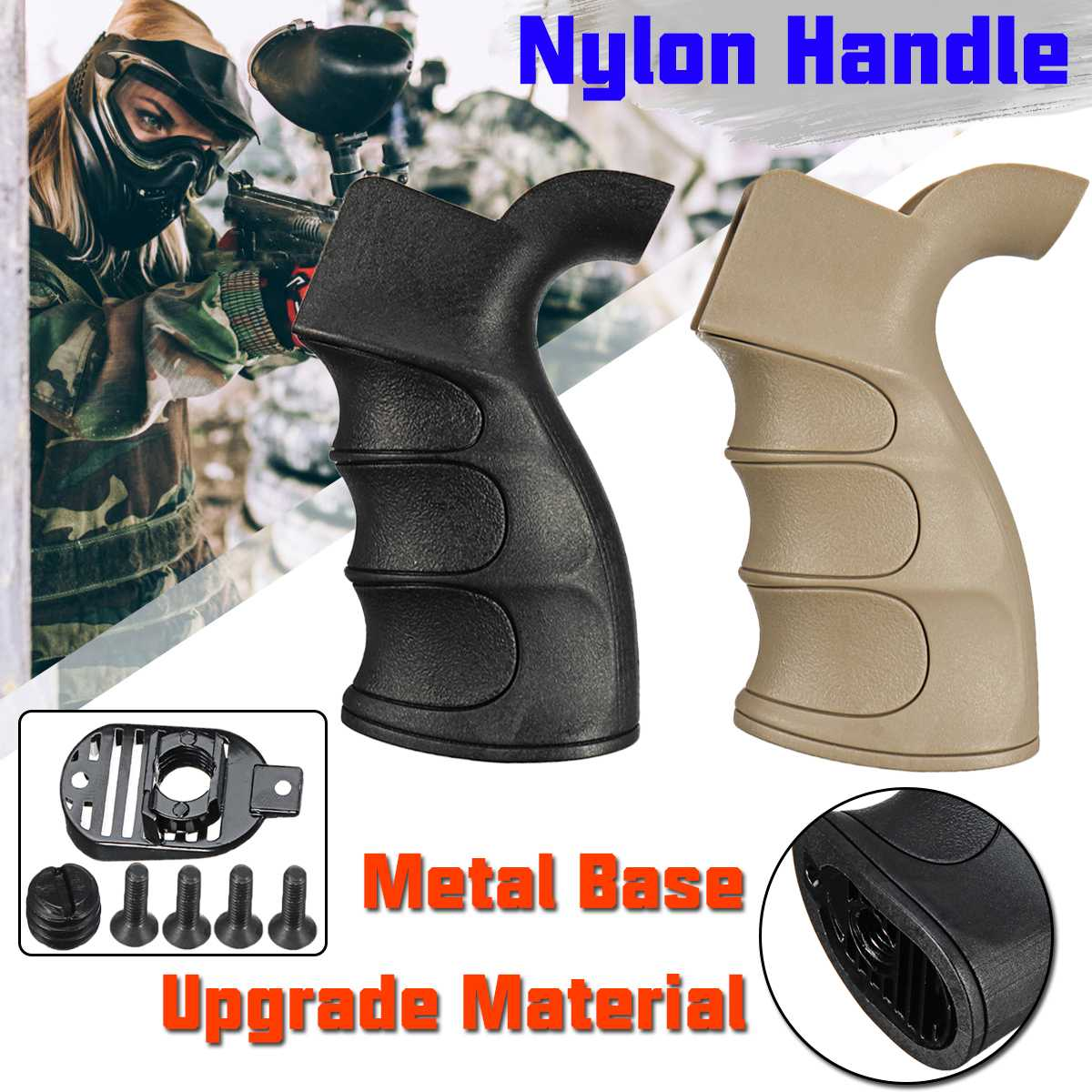 Nylon Handle Metal Base For JinMing 9 M4A1/ TTM/AEG/NWELL M4/BD556/G27 Water Gel Ball Blasters Toy Guns Replacement Accessories