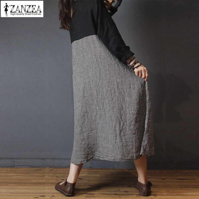 2019 плюс размер ZANZEA весеннее женское платье с длинным рукавом в винтажном стиле, клетчатая рубашка в клетку, Платье женское платье Макси Кафтан Vestido женское