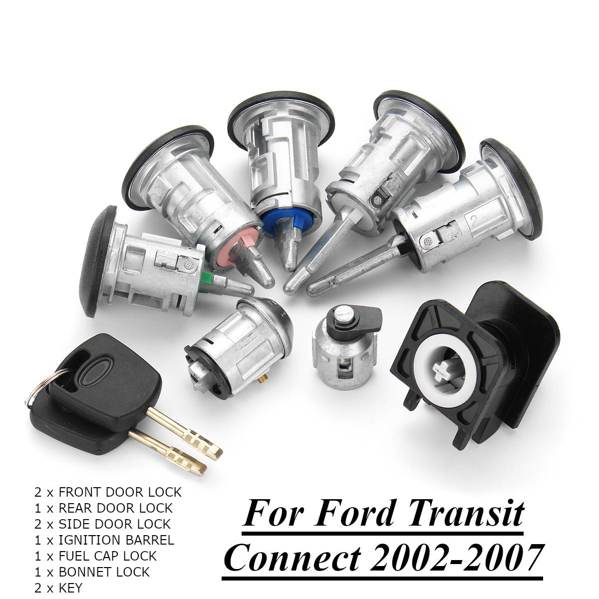 8pcs Ignition Switch Front + Rear Door Lock Bonnet Set with 2 Keys for Ford Transit Connect 2002-2007 44251348pcs Ignition Switch Front + Rear Door Lock Bonnet Set with 2 Keys for Ford Transit Connect 2002-2007 4425134