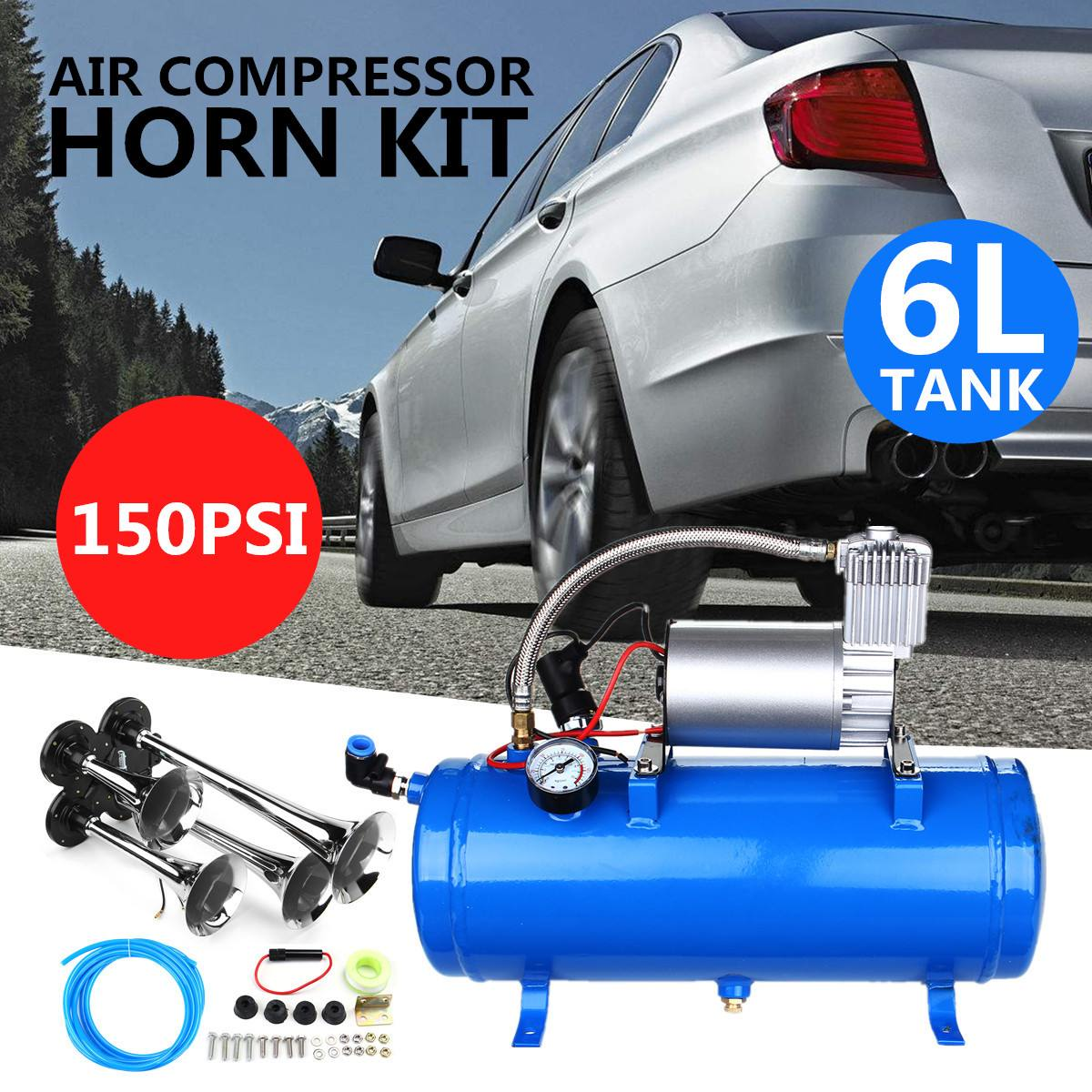150PSI 150DB 12 V 23A 6 Litro Tanque Compressor de Ar Do Carro Truck Train 4-Kit Trompete Chifre Chifre 35x15x16.5 cm 41x15x30 Compressor de Ar cm