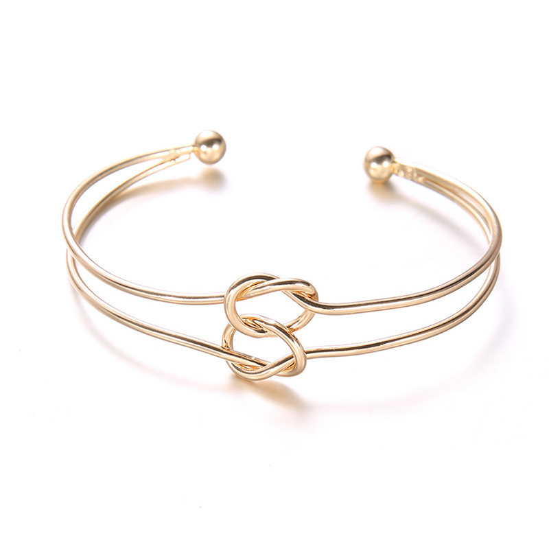 Bangles Honesty Golden Simple 3pcs/set Metal Chain Double Knot Loop New Arrival Unique Bohemian Allergy Free Retro Bracelet Hot Sale