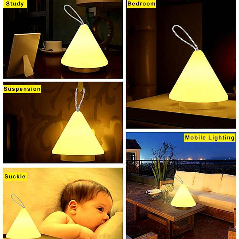 Led 10-Level Dimming Night Light Remote Control Rechargeable Portable Light Bedroom Outdoor Camping Usb Charging Night Lamp(Wa