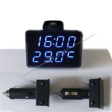 Цифровой светодиодный вольтметр 3 в 1, с термометром и часами, с монитором яркости 12 В, автоматический измеритель напряжения, времени и температуры