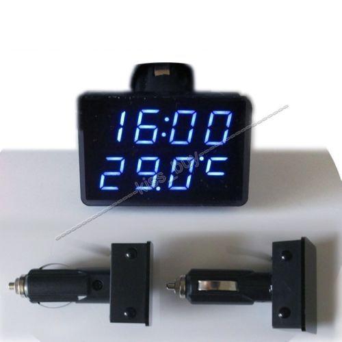 Voltmètre de LED numérique 3IN1 + thermomètre + horloge DC 12 v voiture allume cigare prise moniteur tension automatique compteur de température de temps