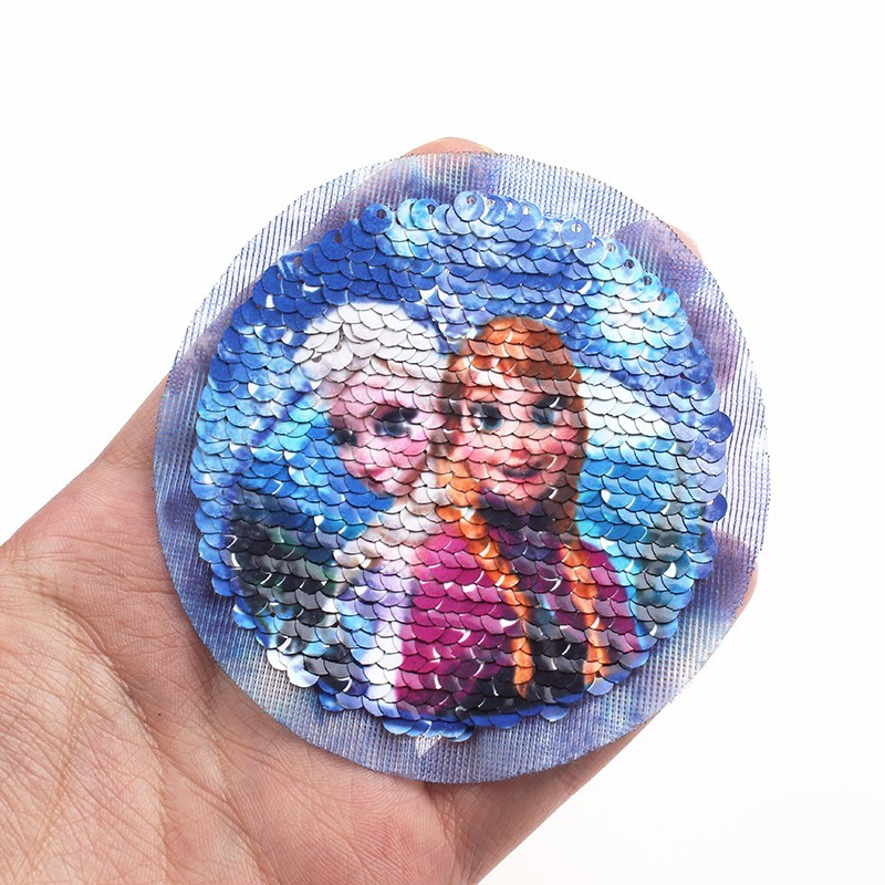 Pulaqi Sequin Cute Ice Girl Sew <font><b>On</b></font> <font><b>Patches</b></font> For Clothes Cartoon Princess <font><b>Patch</b></font> DIY Applique For <font><b>Kids</b></font> Women Decor Acessories F image