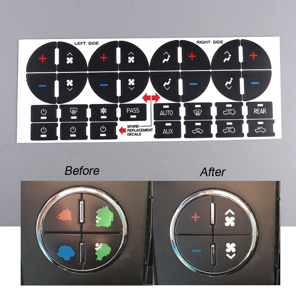PVC Decal Car Sticker AC Dash Button Easy For Chevy GMC Chevrolet PVC Universal Repair Kit Styling Replacement Vehicle #0129