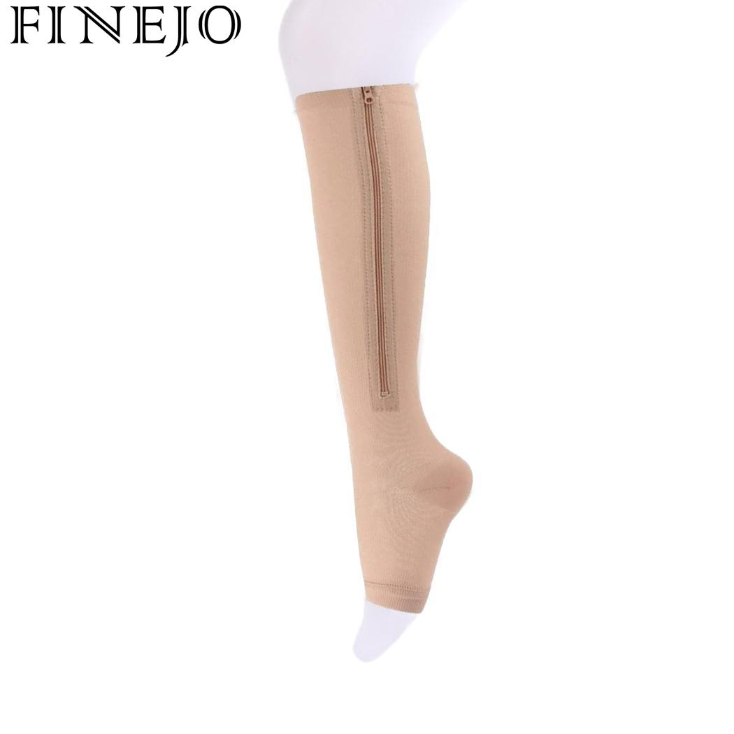 Fine 1 Pair Unisex Open Toe Compression Socks Knee Length Zipper Up Calf Leg Anti-fatigue Stocking Varicosity Support Elastic Socks Men's Socks