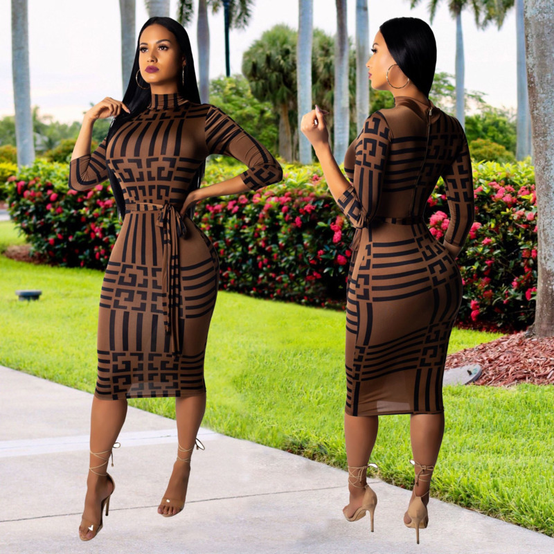 9314b635999 Detail Feedback Questions about Loneyshow Sexy Club Dresses 2018 Autumn  Winter Women Striped Dress Long Sleeve Turtleneck Bodycon Dress Clothes on  ...