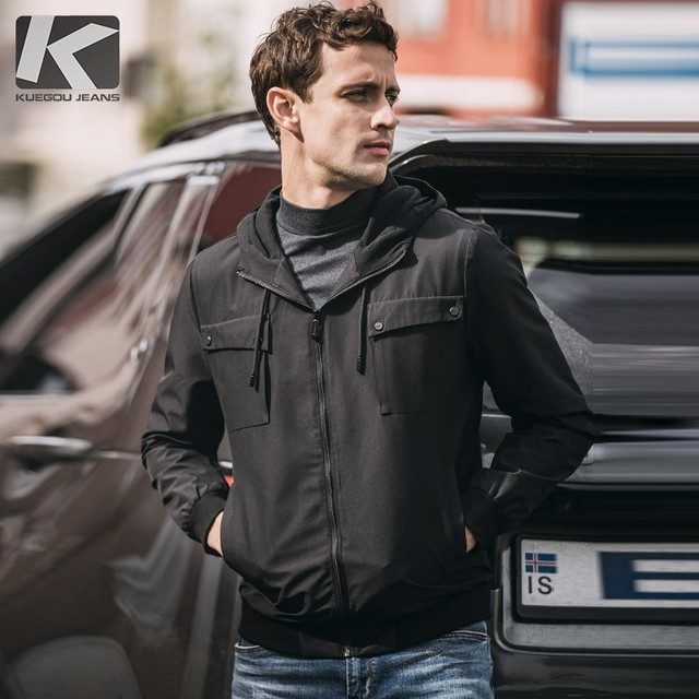Autumn Men Jacket Hooded Thick Zipper Pocket Solid Black Color For Man Fashion Slim Clothing 2018 Male Wear Outdoor Coat 08907