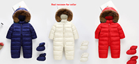 Child Skiing Suit Snowsuit Baby Boys Jumpsuits Cloth Waterproof Down cotton Hooded real fur romper Girls Siamese big Fur collar