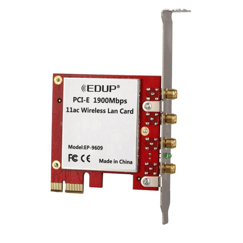 EDUP 1900Mbps 2.4/5GHz double bande PCI Express sans fil WiFi adaptateur 802.11AC bureau PCI-E carte réseau 4 * 5dBi antennes - 6