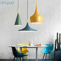 Modern Nordic Pendant Light Iron Lampshade Wood LED Hanging Lamp for Dining Room Hotel Bedroom Kitchen Lighting Fixtures