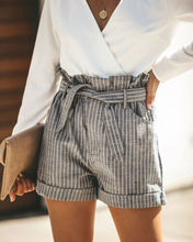 Summer Shorts 2019 New Women Cotton Casual Loose Striped Lace Up High Waist