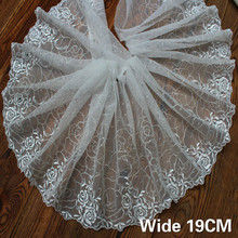 Luxury Glitter Rhinestone Lace Applique Roses Embroidery Ribbon Trim Collar Weddings Dress