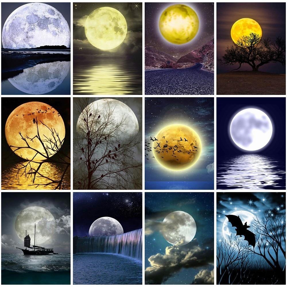 5d diy diamond painting full drill landscape moon tree mosaic home decoratJD