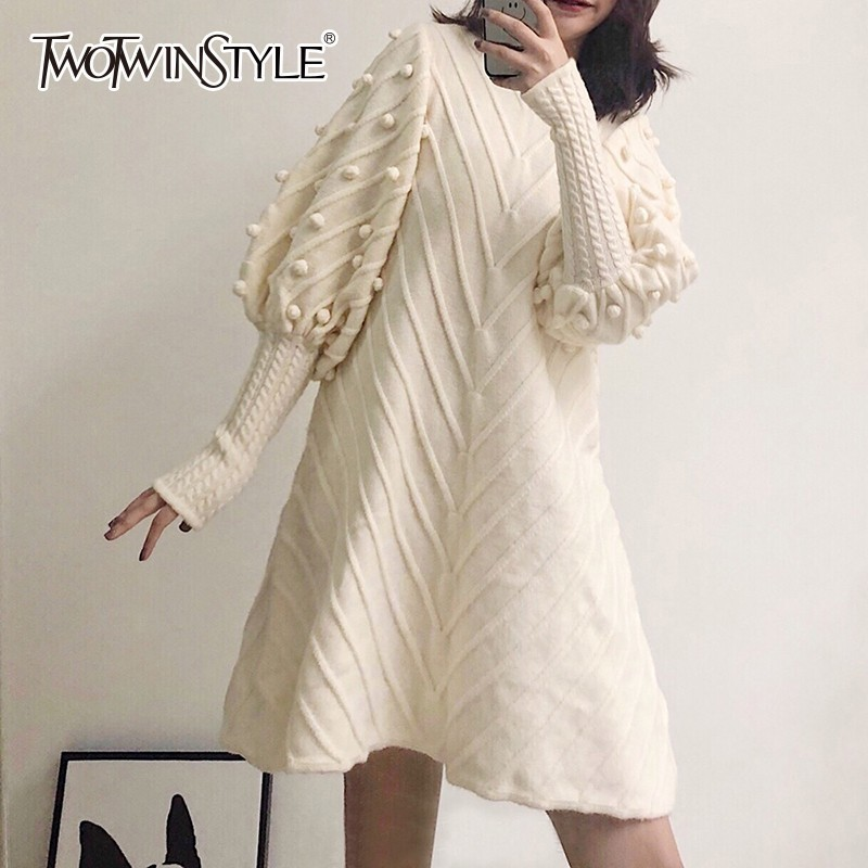 TWOTWINSTYLE Casual Knitting Dress Women O Neck Lantern Long Sleeve Hair Bulb Pullover Dresses Female Fashion 2018 Autumn Winter