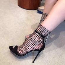 Fashion Luxury Crystals Women Sandals Fish Net Peep Toe High Heels Summer Big Size Ladies Party Shoes Free Ship