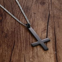 Men's Stainless Steel Upside Down Cross Necklace Inverted St Peter Pendant For Men Religious Christan Jewelry(China)