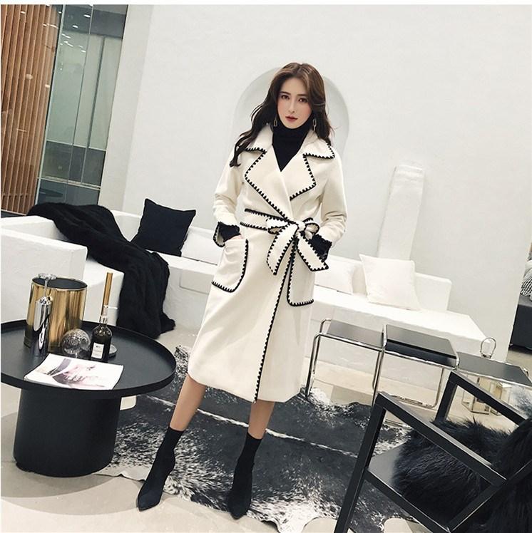 Automne Femmes Down Contraste Beige Poches Col Manteau Long 2019 Nouveau Couleur Printemps Bord Blanc Survêtement Turn xwn04wREO